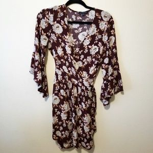 AMERICAN EAGLE BURGUNDY FLORAL WRAP DRESS/TUNIC